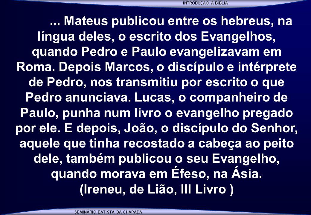 (Ireneu, de Lião, III Livro )