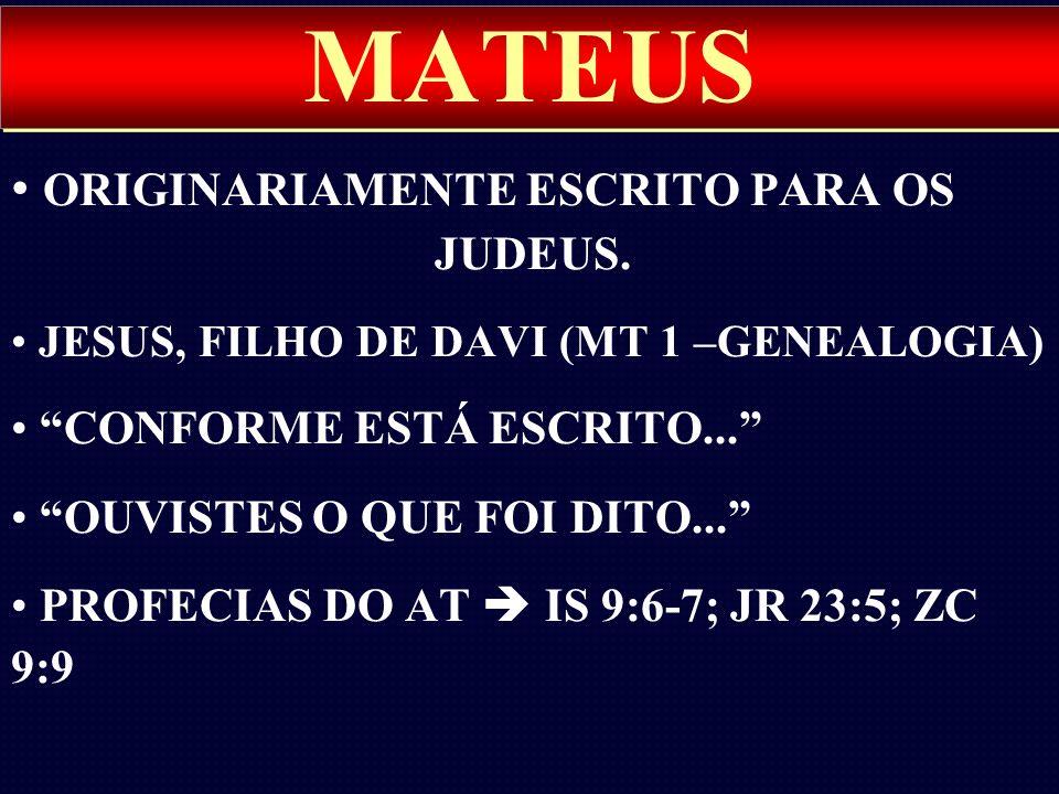 MATEUS ORIGINARIAMENTE ESCRITO PARA OS JUDEUS.