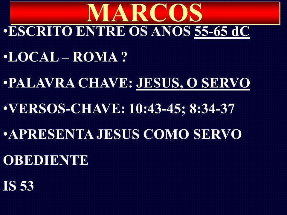 MARCOS ESCRITO ENTRE OS ANOS 55-65 dC LOCAL – ROMA