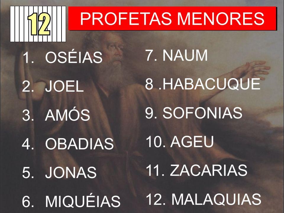 PROFETAS MENORES 7. NAUM OSÉIAS 8 .HABACUQUE JOEL 9. SOFONIAS AMÓS