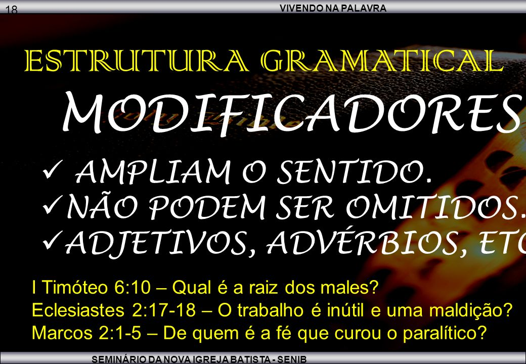 MODIFICADORES ESTRUTURA GRAMATICAL AMPLIAM O SENTIDO.