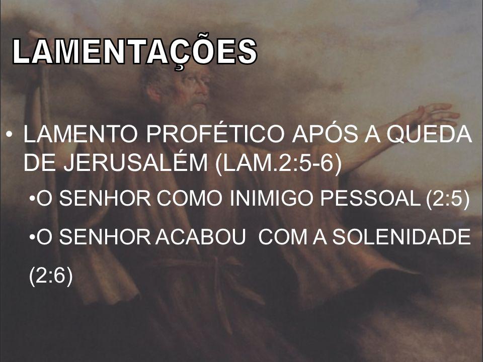 LAMENTO PROFÉTICO APÓS A QUEDA DE JERUSALÉM (LAM.2:5-6)