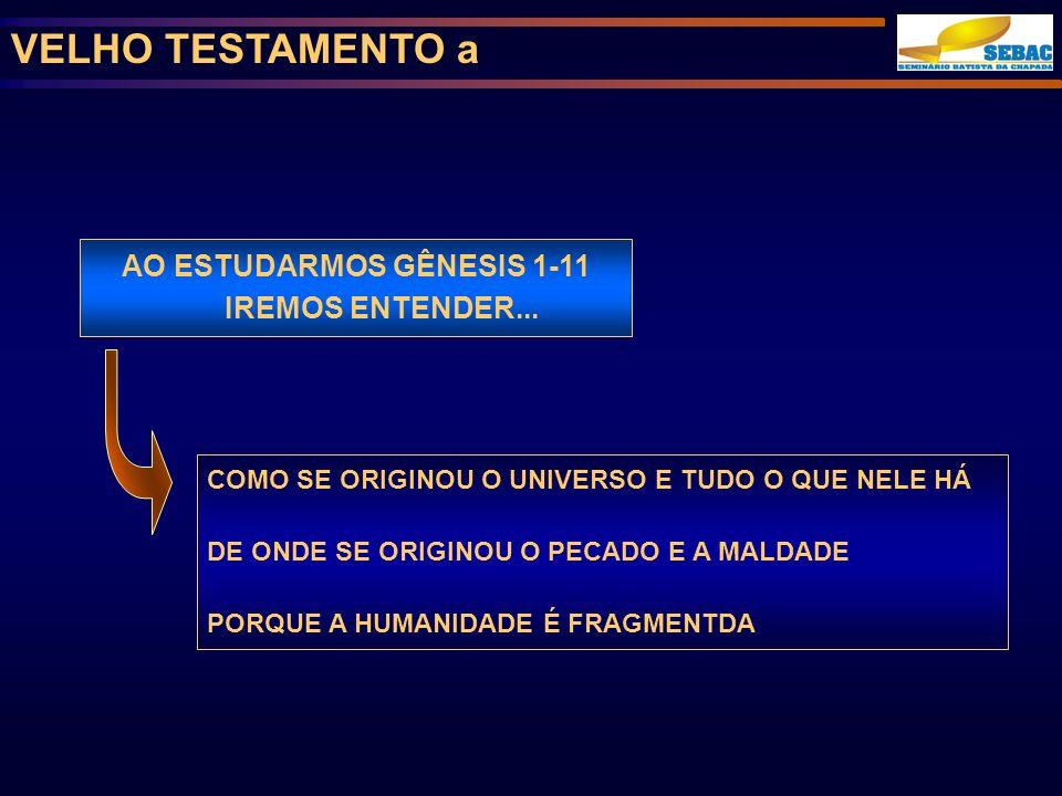 AO ESTUDARMOS GÊNESIS 1-11 IREMOS ENTENDER...
