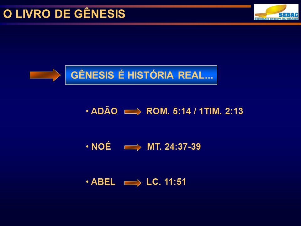 O LIVRO DE GÊNESIS GÊNESIS É HISTÓRIA REAL...