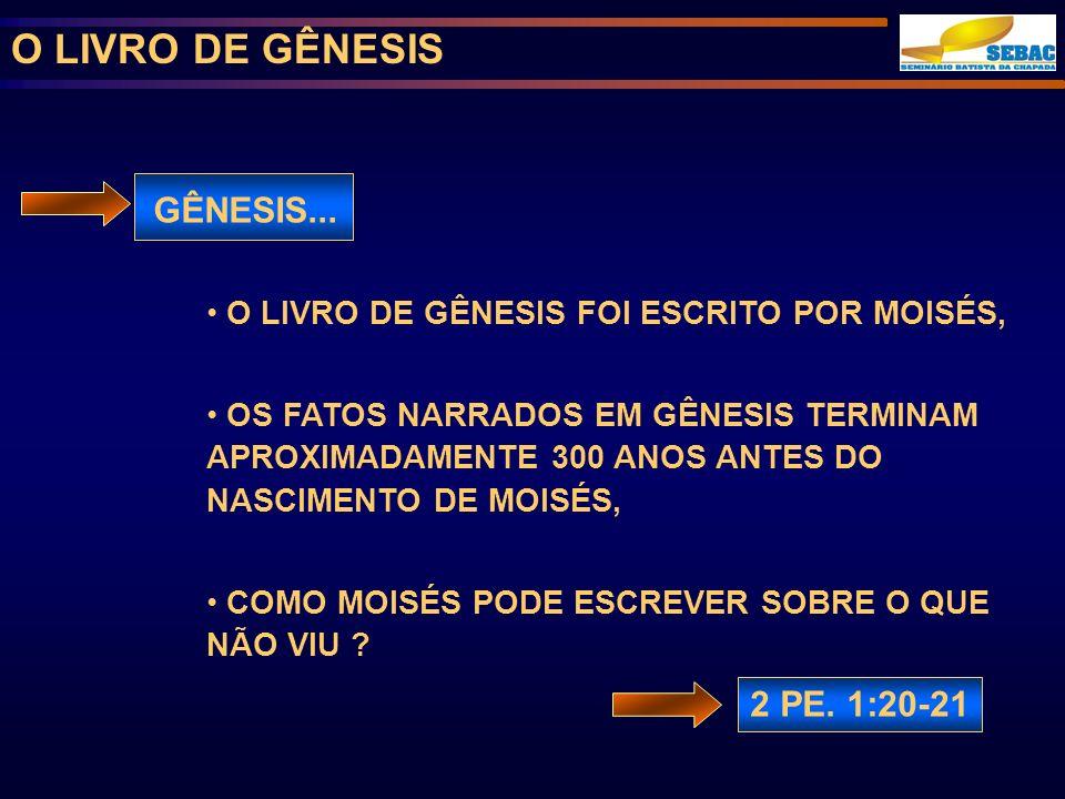 O LIVRO DE GÊNESIS GÊNESIS... 2 PE. 1:20-21
