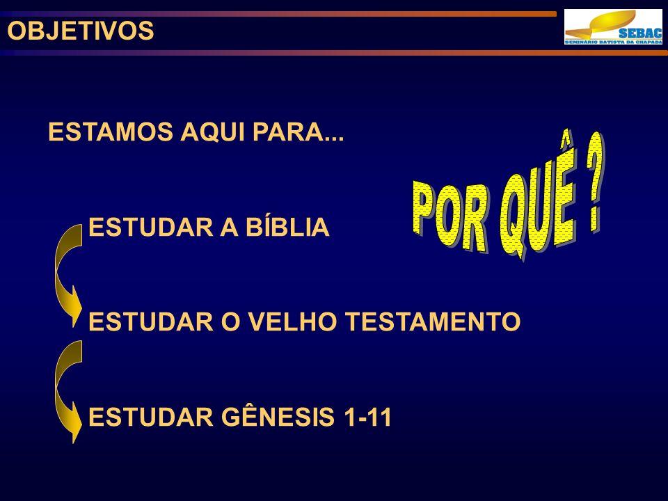 POR QUÊ OBJETIVOS ESTAMOS AQUI PARA... ESTUDAR A BÍBLIA