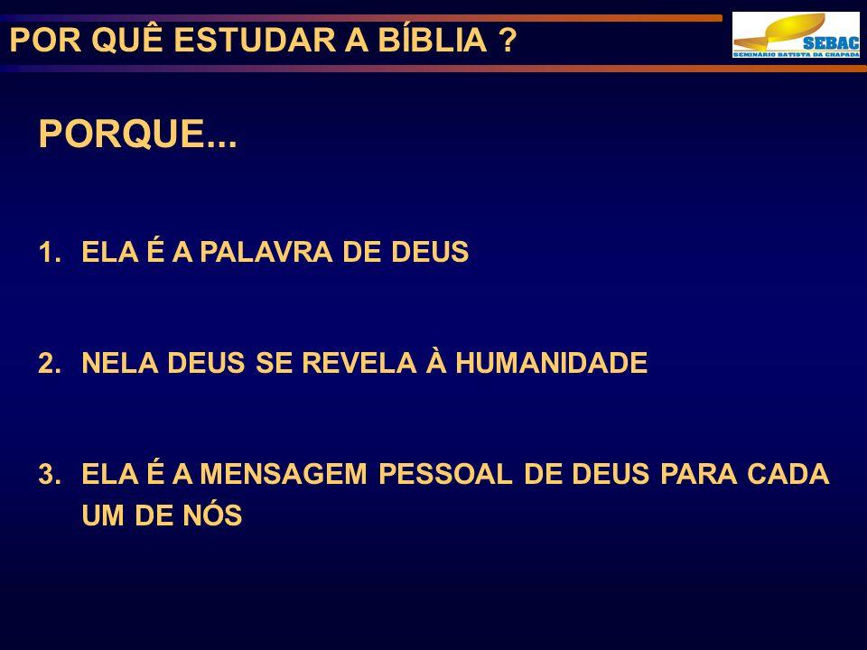 PORQUE... POR QUÊ ESTUDAR A BÍBLIA ELA É A PALAVRA DE DEUS