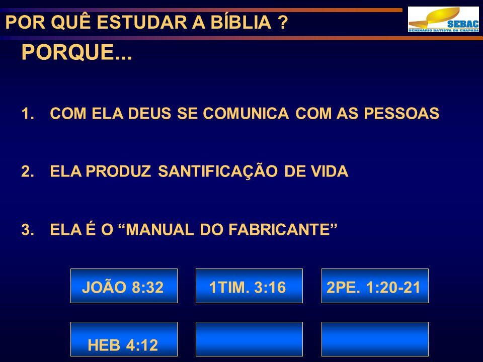 PORQUE... POR QUÊ ESTUDAR A BÍBLIA