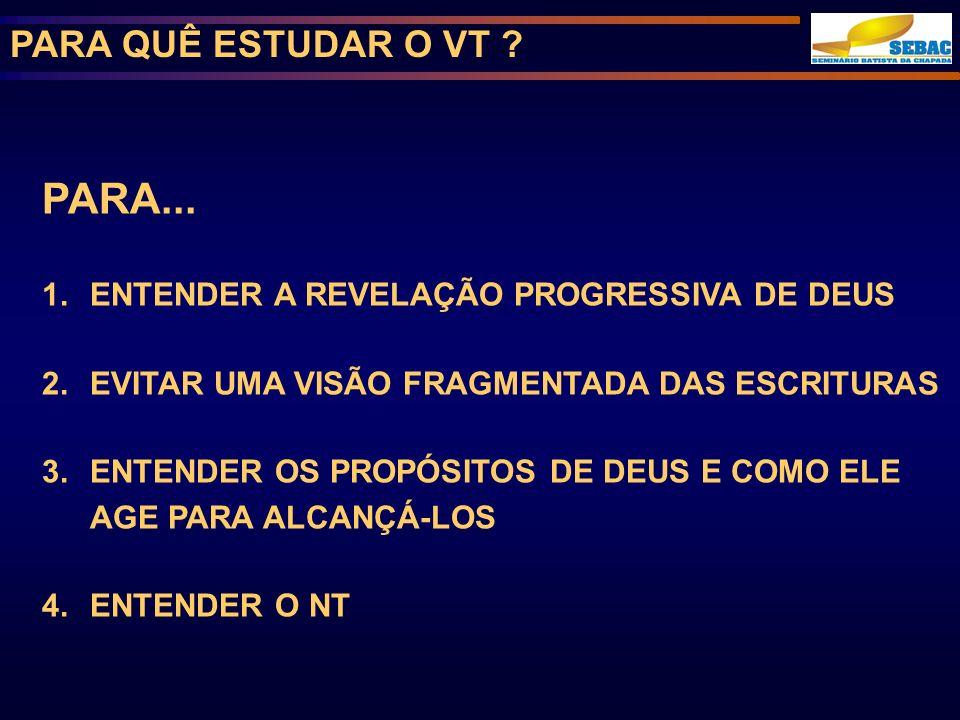 PARA... PARA QUÊ ESTUDAR O VT
