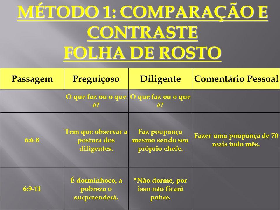 MÉTODO 1: COMPARAÇÃO E CONTRASTE FOLHA DE ROSTO