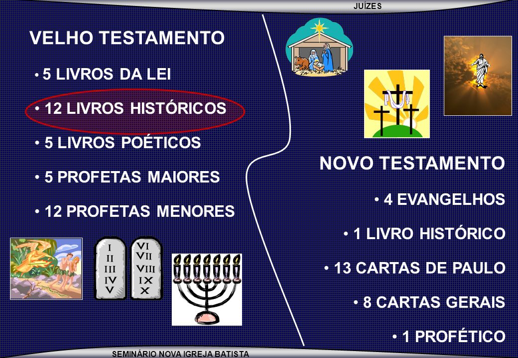 VELHO TESTAMENTO 12 LIVROS HISTÓRICOS 5 LIVROS POÉTICOS