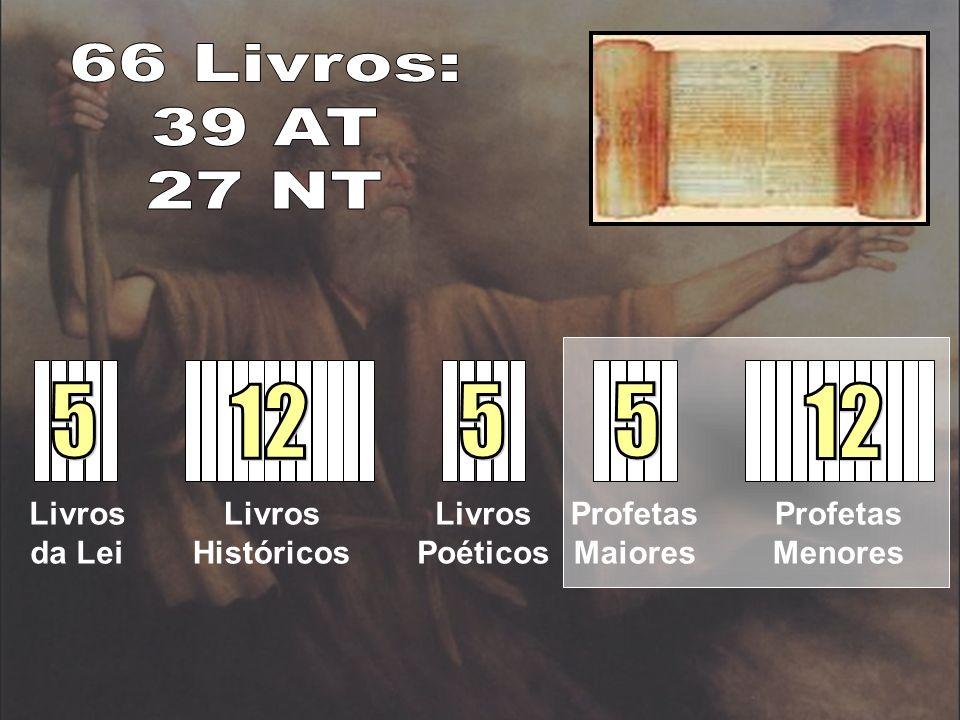 66 Livros: 39 AT 27 NT 5 12 5 5 12 Livros da Lei Livros Históricos