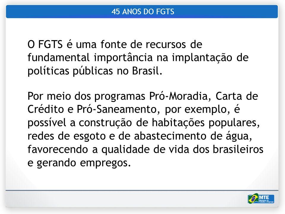 45 ANOS DO FGTS O FGTS é uma fonte de recursos de fundamental importância na implantação de políticas públicas no Brasil.