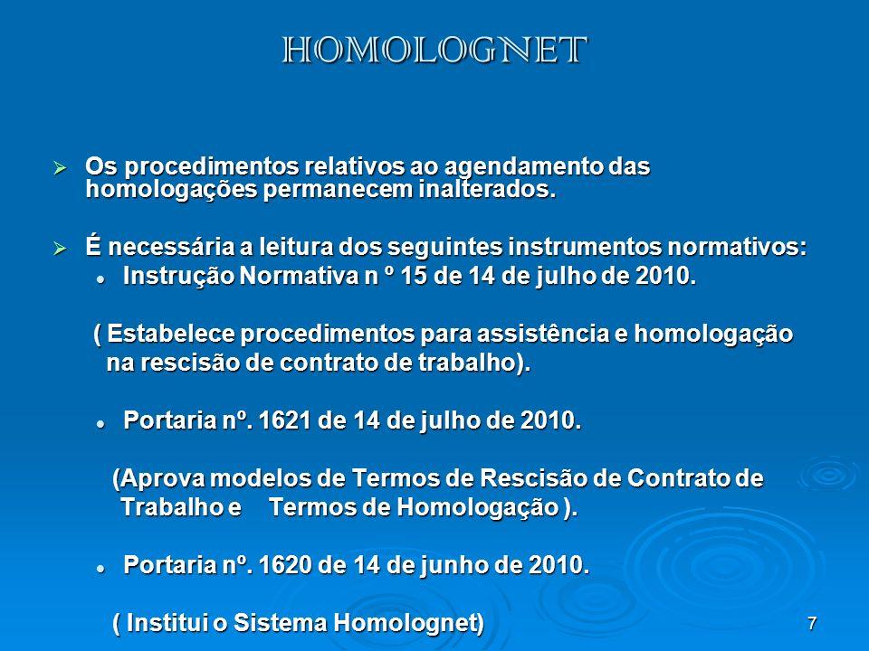 HOMOLOGNET Os procedimentos relativos ao agendamento das homologações permanecem inalterados.