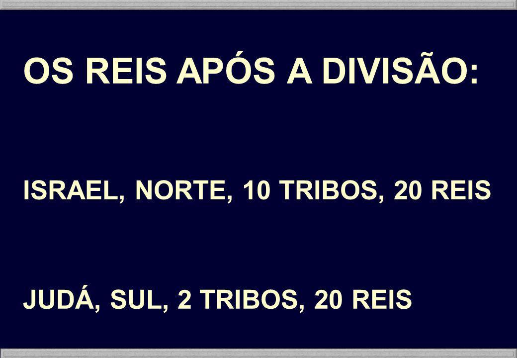 OS REIS APÓS A DIVISÃO: ISRAEL, NORTE, 10 TRIBOS, 20 REIS