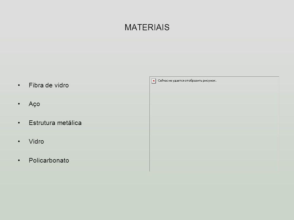 MATERIAIS Fibra de vidro Aço Estrutura metálica Vidro Policarbonato