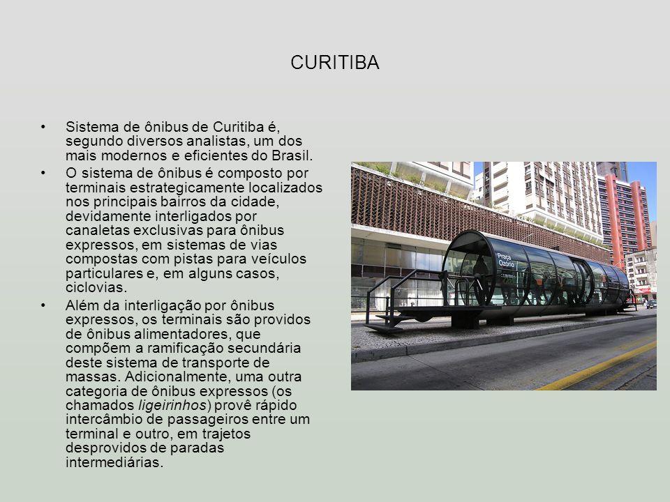 CURITIBASistema de ônibus de Curitiba é, segundo diversos analistas, um dos mais modernos e eficientes do Brasil.