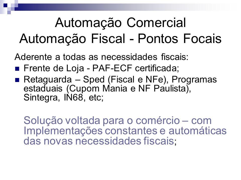 Automação Comercial Automação Fiscal - Pontos Focais