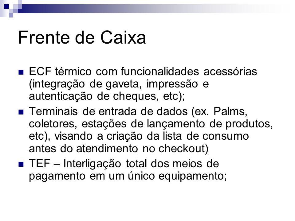Frente de Caixa ECF térmico com funcionalidades acessórias (integração de gaveta, impressão e autenticação de cheques, etc);
