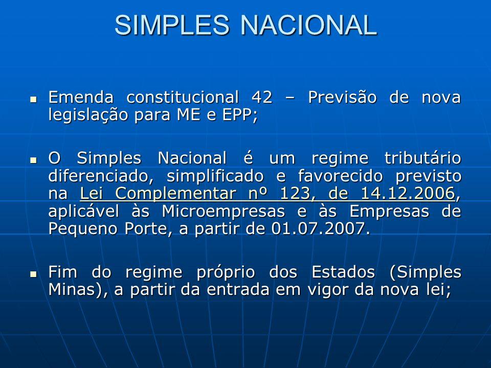 SIMPLES NACIONAL Emenda constitucional 42 – Previsão de nova legislação para ME e EPP;