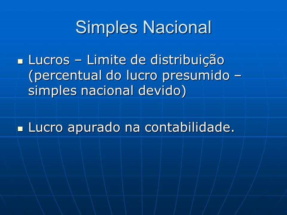 Simples Nacional Lucros – Limite de distribuição (percentual do lucro presumido – simples nacional devido)