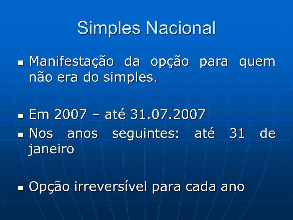 Simples Nacional Manifestação da opção para quem não era do simples.