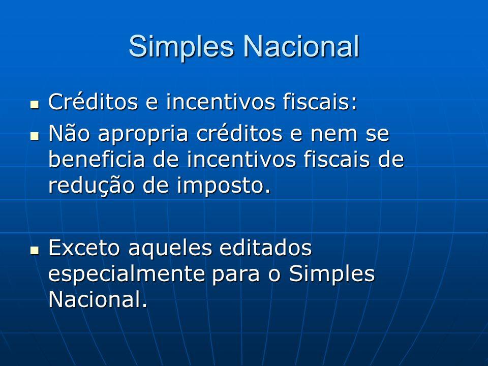 Simples Nacional Créditos e incentivos fiscais: