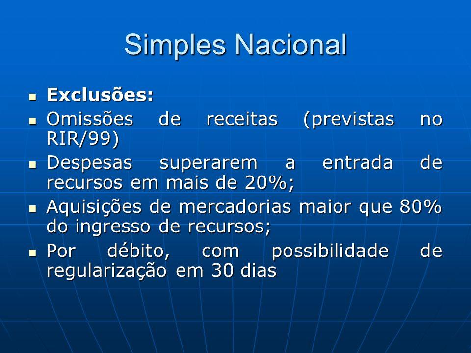 Simples Nacional Exclusões: Omissões de receitas (previstas no RIR/99)