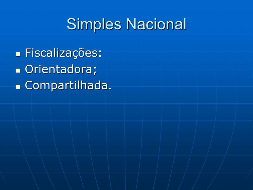 Simples Nacional Fiscalizações: Orientadora; Compartilhada.
