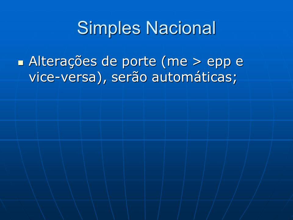 Simples Nacional Alterações de porte (me > epp e vice-versa), serão automáticas;