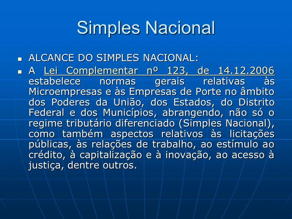 Simples Nacional ALCANCE DO SIMPLES NACIONAL: