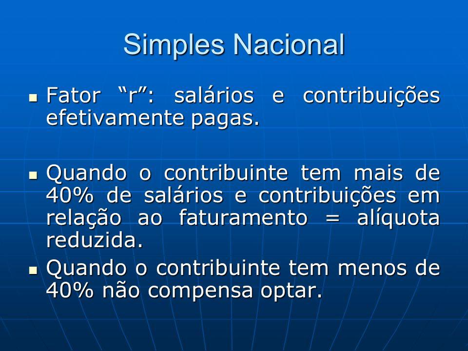 Simples Nacional Fator r : salários e contribuições efetivamente pagas.