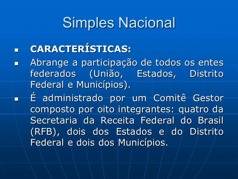 Simples Nacional CARACTERÍSTICAS: