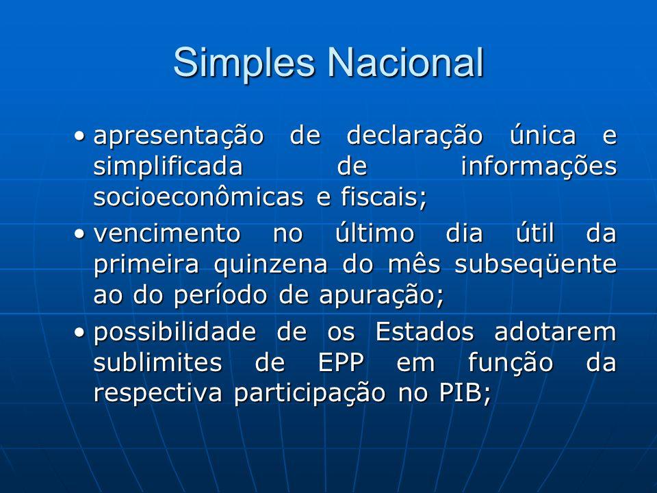 Simples Nacional apresentação de declaração única e simplificada de informações socioeconômicas e fiscais;