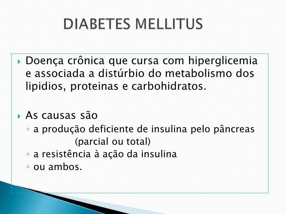 DIABETES MELLITUSDoença crônica que cursa com hiperglicemia e associada a distúrbio do metabolismo dos lipidios, proteinas e carbohidratos.