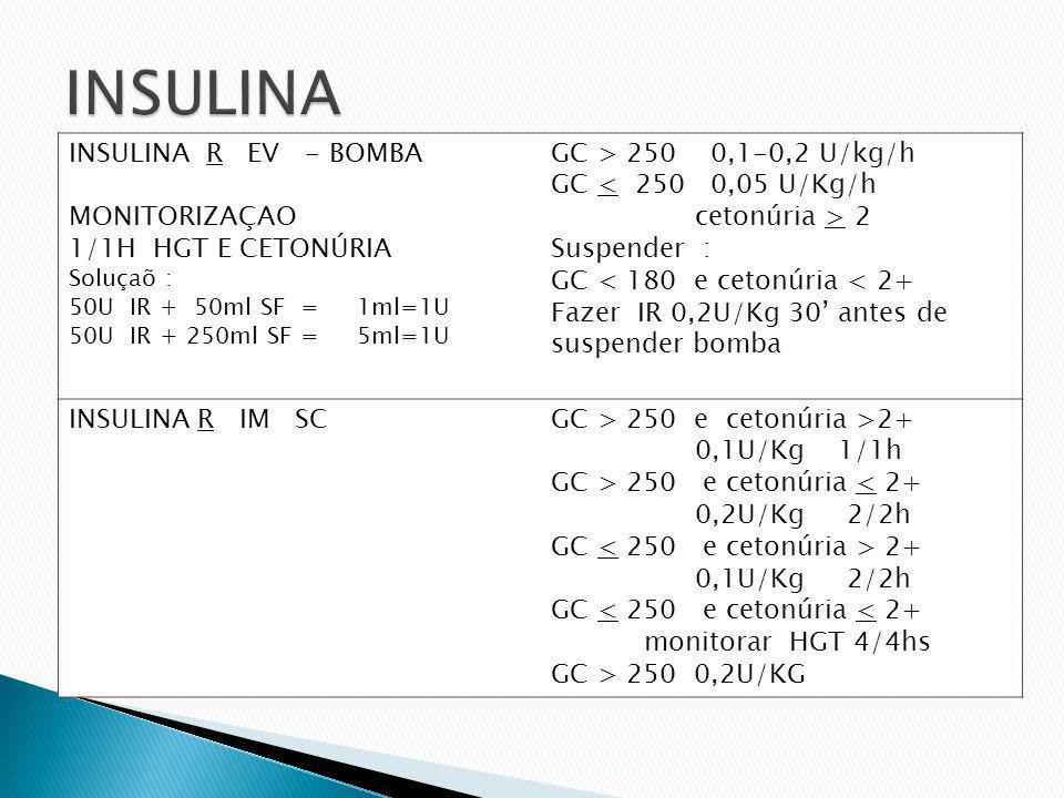 INSULINA INSULINA R EV - BOMBA MONITORIZAÇAO 1/1H HGT E CETONÚRIA