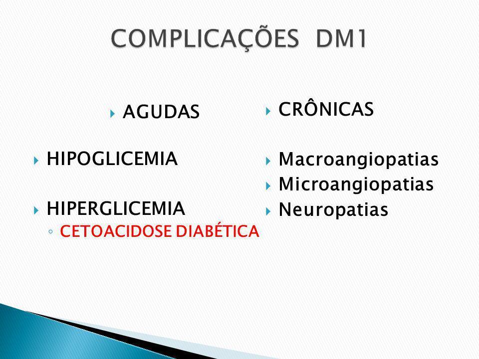 COMPLICAÇÕES DM1 CRÔNICAS AGUDAS HIPOGLICEMIA Macroangiopatias