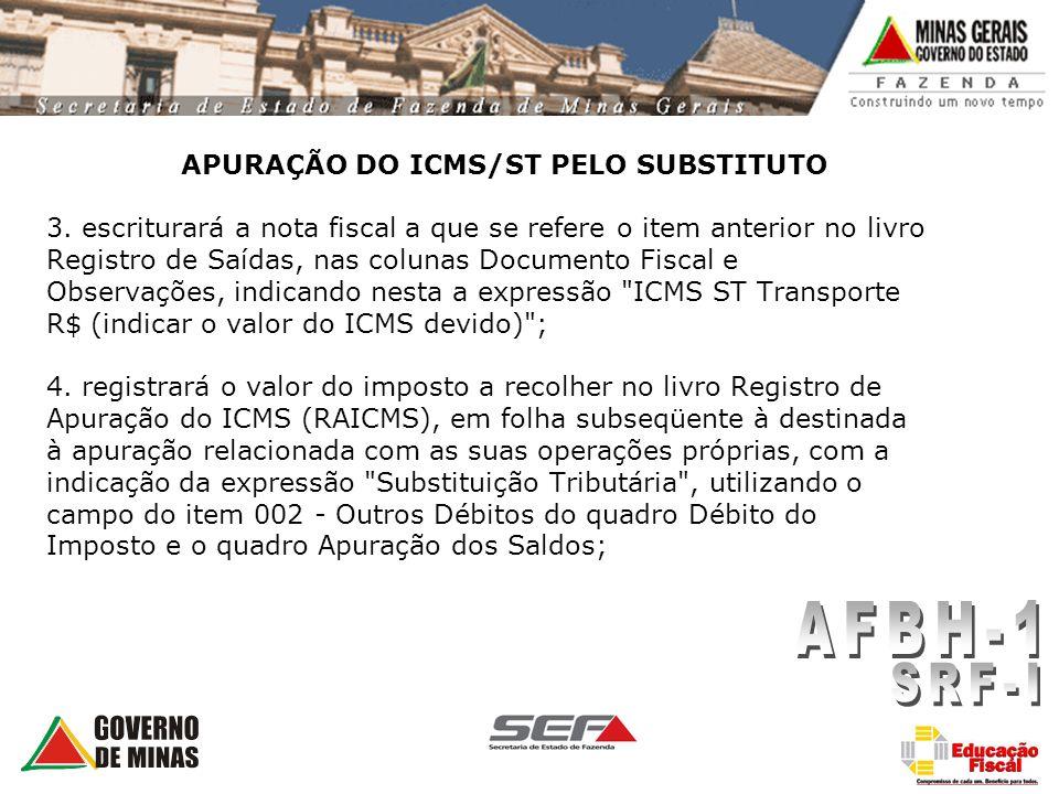 APURAÇÃO DO ICMS/ST PELO SUBSTITUTO 3