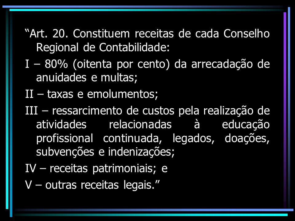 Art. 20. Constituem receitas de cada Conselho Regional de Contabilidade: