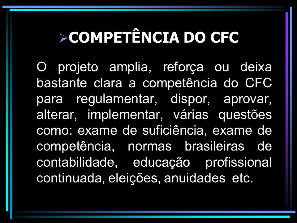COMPETÊNCIA DO CFC