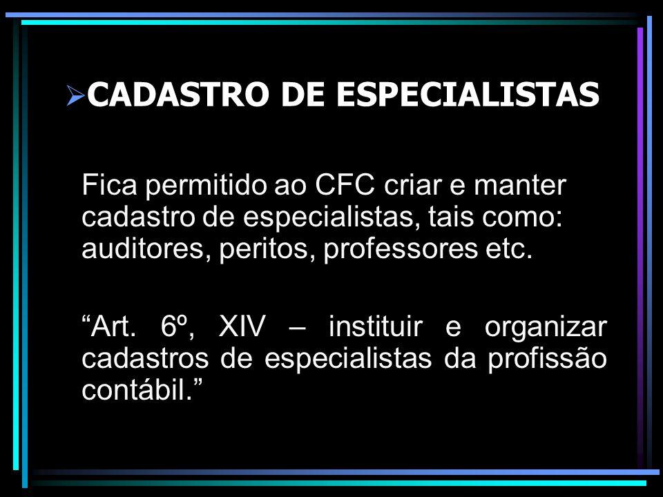 CADASTRO DE ESPECIALISTAS