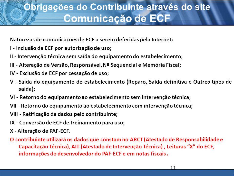 Obrigações do Contribuinte através do site Comunicação de ECF