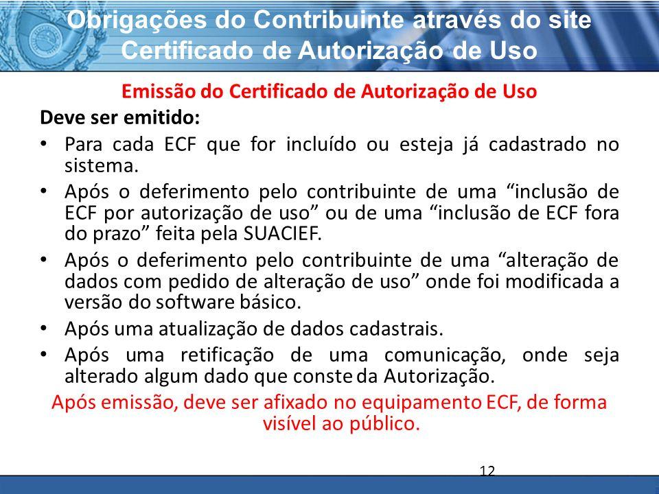 Emissão do Certificado de Autorização de Uso
