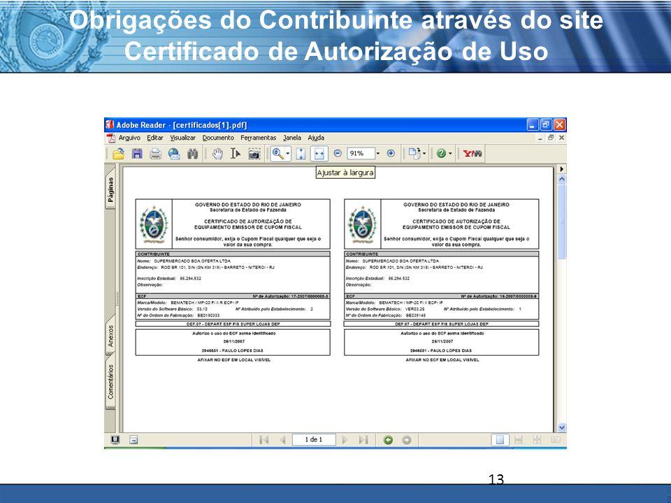 Obrigações do Contribuinte através do site Certificado de Autorização de Uso