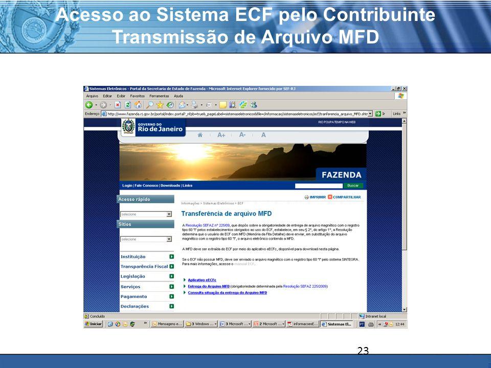 Acesso ao Sistema ECF pelo Contribuinte Transmissão de Arquivo MFD