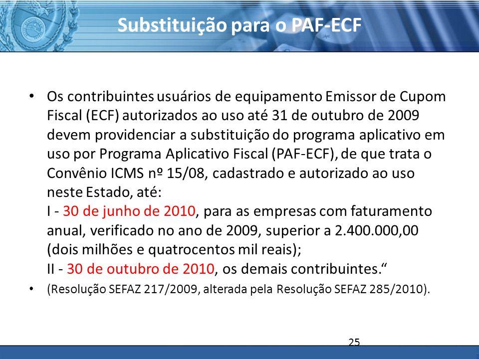Substituição para o PAF-ECF