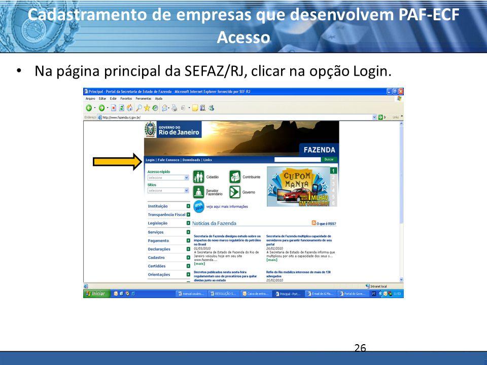 Cadastramento de empresas que desenvolvem PAF-ECF Acesso