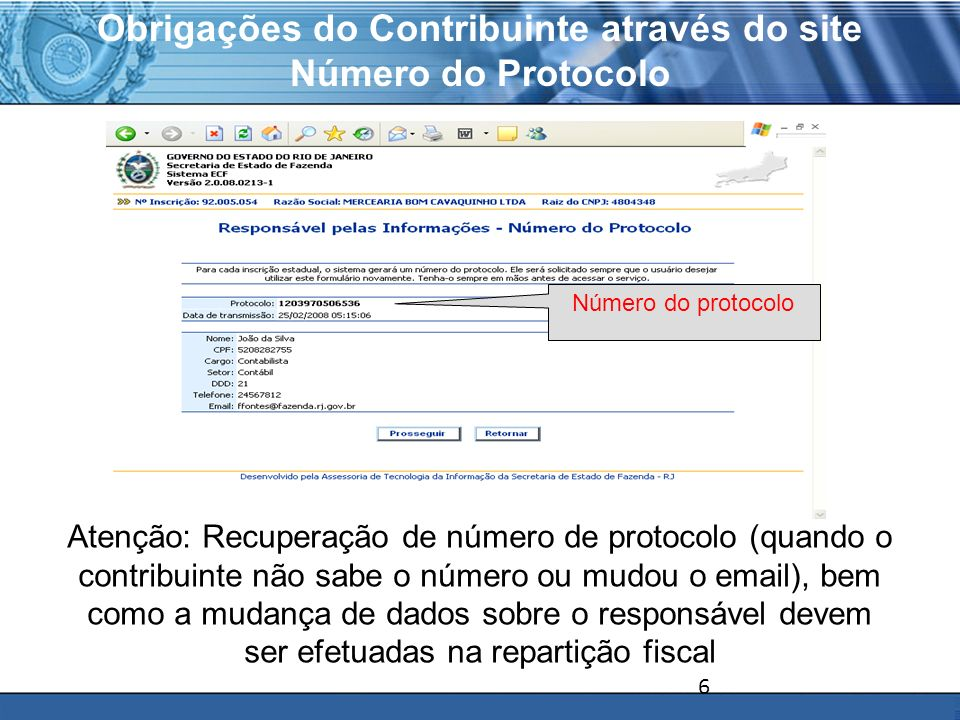 Obrigações do Contribuinte através do site Número do Protocolo