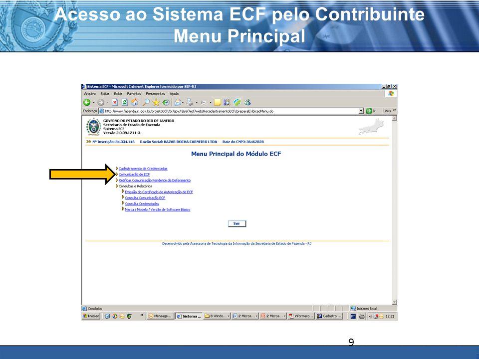 Acesso ao Sistema ECF pelo Contribuinte Menu Principal