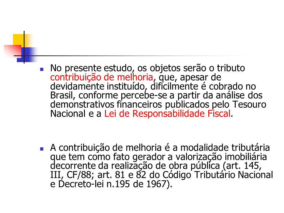 No presente estudo, os objetos serão o tributo contribuição de melhoria, que, apesar de devidamente instituído, dificilmente é cobrado no Brasil, conforme percebe-se a partir da análise dos demonstrativos financeiros publicados pelo Tesouro Nacional e a Lei de Responsabilidade Fiscal.